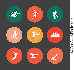 extreme sports over dark  background vector illustration