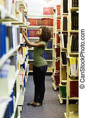 femininas, africano, faculdade, estudante, Procurar, livro