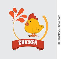 chicken design over gray background vector illustration