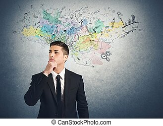 Businessman thinks for new ideas