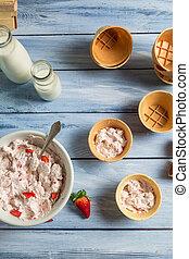 Homemade strawberry ice cream with yogurt