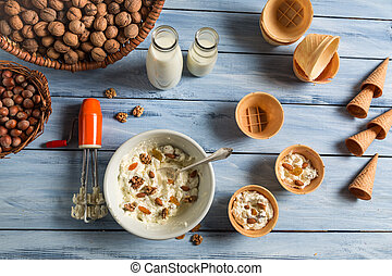 Ingredients for homemade nuts ice cream