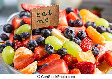 gozar, su, fruta, ensalada