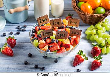 ingredientes, fruta, ensalada, no, preservativos