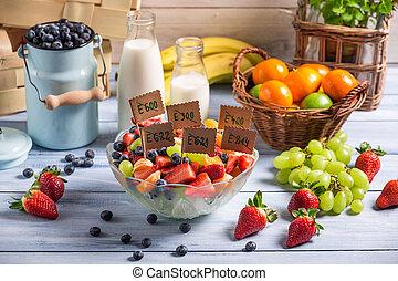 sano, fruta, ensalada, no, preservativos
