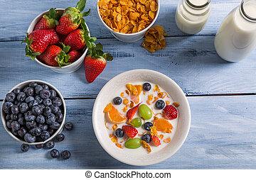 preparaciones, desayuno, maíz, escamas, frutas