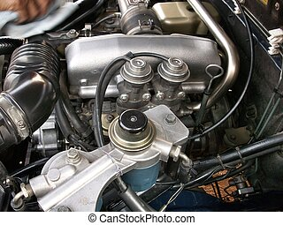 Closeup of a engine compartment