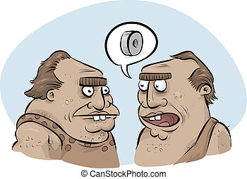 Cavemen Inventing Wheel - A couple of cartoon cavemen...