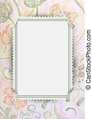 slit corner frame on floral paper - Soft pastel floral paper...