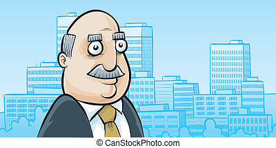 Urban Businessman - A cartoon portrait of a businessman in...