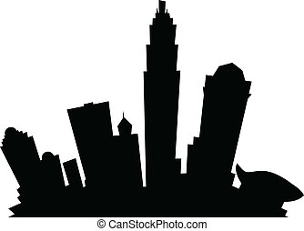 Cartoon Charlotte - Cartoon skyline silhouette of the city...