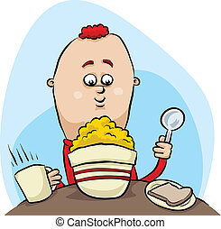 Cereal Breakfast - A cartoon young man enjoys his cereal and...