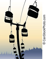 Chairlift - Silhouette of a chairlift ride against the sky.
