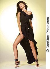 Attractive brunette beauty posing.