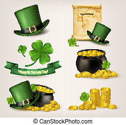 Set of St Patricks Day related icons Vector