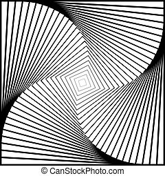 Design monochrome twirl movement illusion background. Abstract strip torsion backdrop. Vector-art illustration
