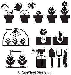 set agrotechnics icons - set black and white icons for...