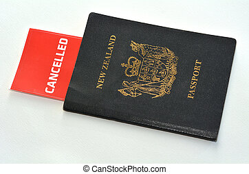 Cancelled New Zealand passport isolated on white background...