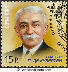RUSSIA - CIRCA 2013: A stamp printed in Russia shows Pierre...