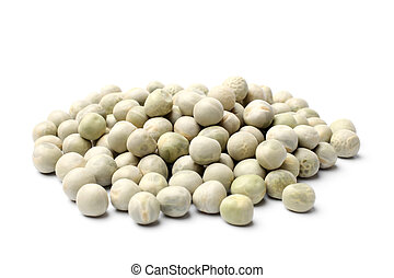 Dried green peas on white background