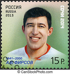 RUSSIA - CIRCA 2013: A stamp printed in Russia shows Anatoli...