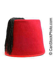 Turkish hat fez on white background