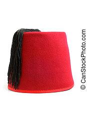 Turkish hat (fez) on white background
