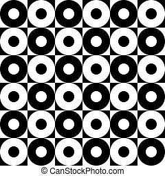 Monochrome Seamless Circles Pattern - Vector Monochrome...
