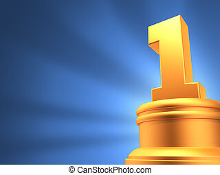 number one award blue background - 3d render award and badge...