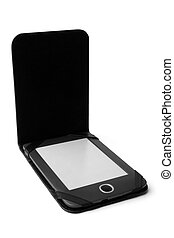 Electronic pocket book in leather case on white background