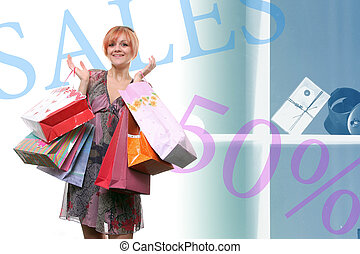 happy young girl with colored bags