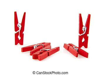 clothespins on a white background