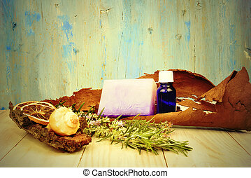 rustic background herbal essential oils - background natural...