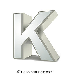 3d silver letter K isolated white background