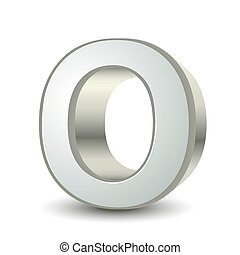 3d silver letter O isolated white background