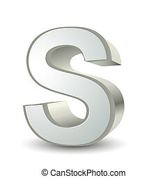 3d silver letter S isolated white background