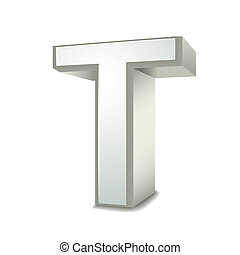 3d silver letter T isolated white background