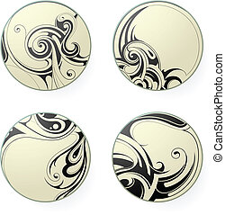 Tribal art - Set of round ornament tattoo shapes isolated on...