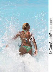 woman enjoying the Ionian sea - Pretty blonde woman enjoying...