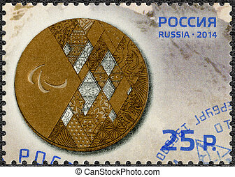RUSSIA - CIRCA 2014: A stamp printed in Russia shows Bronze...