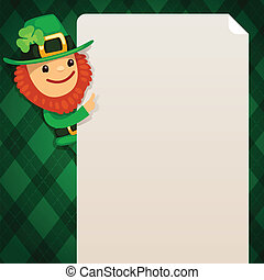 Leprechaun looking at blank poster on green background