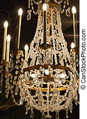 The crystal chandelier in the castle  Chambord
