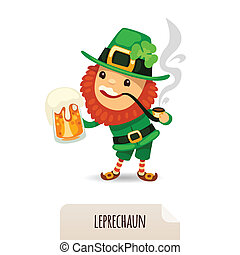Leprechaun with beer smokes a pipe