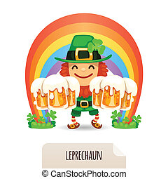 Lucky Leprechaun with a beer in front of a rainbow. In the...
