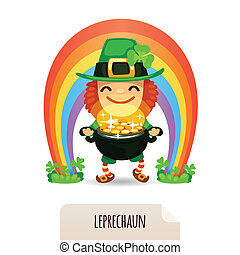 Lucky Leprechaun with coins in front of a rainbow In the EPS...