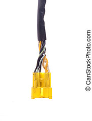 Yellow connection plug isolated on a white background
