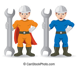 Fitter mechanic repairman mascot - Two muscular mascots of...
