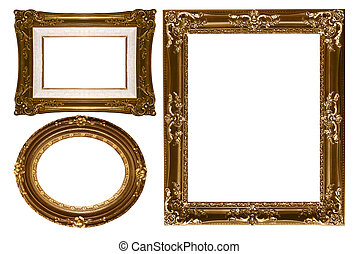 Oval and Rectangular Decorative Gold Empty Wall Picture...