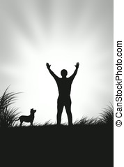 arms raised - illustration,silhouette of dog looking at a...
