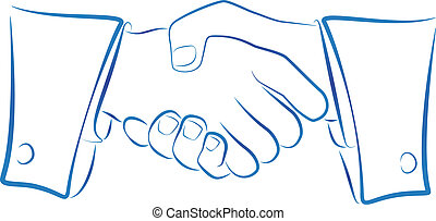 Handshake Outline - Ink blue outline illustration of a...
